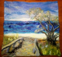 Wet felted wall hanging of Moffat Beach