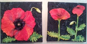 Diptyche of poppies. Wet felted with beading.
