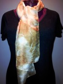 Eucalypt eco dyed scarf on Jill. Dyed with vinegar, eucaluptus leaves and water.