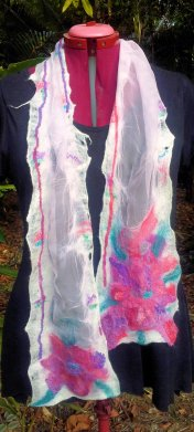 Nuno felt scarf - Fantasy flower - tissue silk, merino, silk hankies, silk tops, cotton scrim - all hand dyed