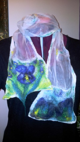Iris inspired summer flower scarf nuno felted with 15micron merino and hand dyed silk hankies and silk tops felted onto tissue silk. Blues, greens.