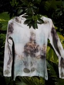 Long sleeve tee eco-dyed with eucs in a pale blue bath