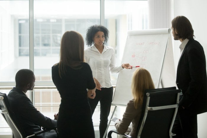Serious African Female Leader Or Coach Gives Presentation Of New