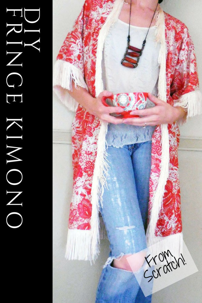 Boho style DIY kimono with fringe from scratch!