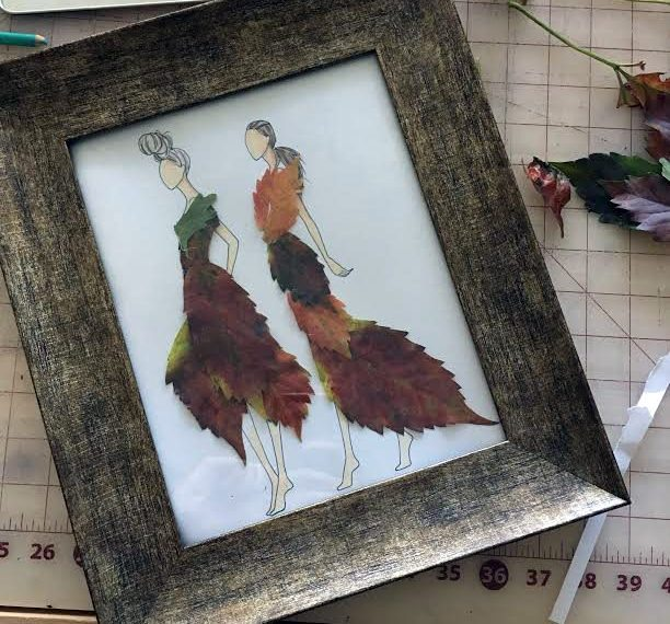 Pressed Leaf Fashion Figure Art