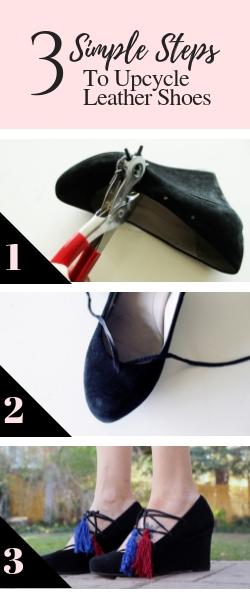 DIY simple leather Shoe Refashion Full Tutorial