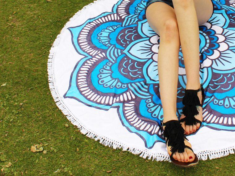 Blue Boho Flower Beach Throw Towel for summer