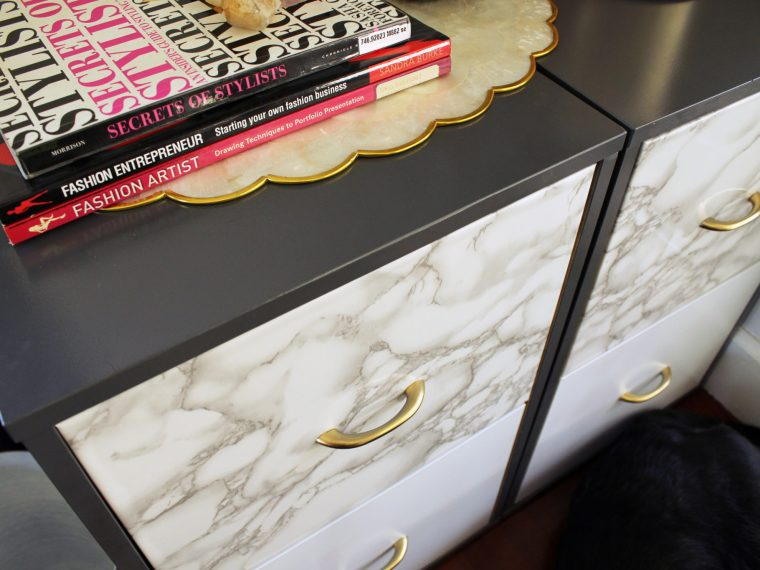 how to make this marble filing cabinet makeover