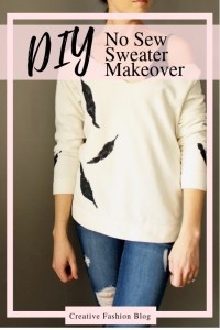 DIY feather stencil sweater refashion makeover
