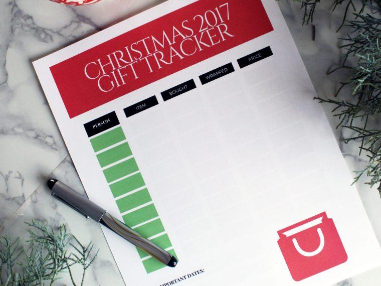 Free Holiday Printable Christmas Gift Tracker.