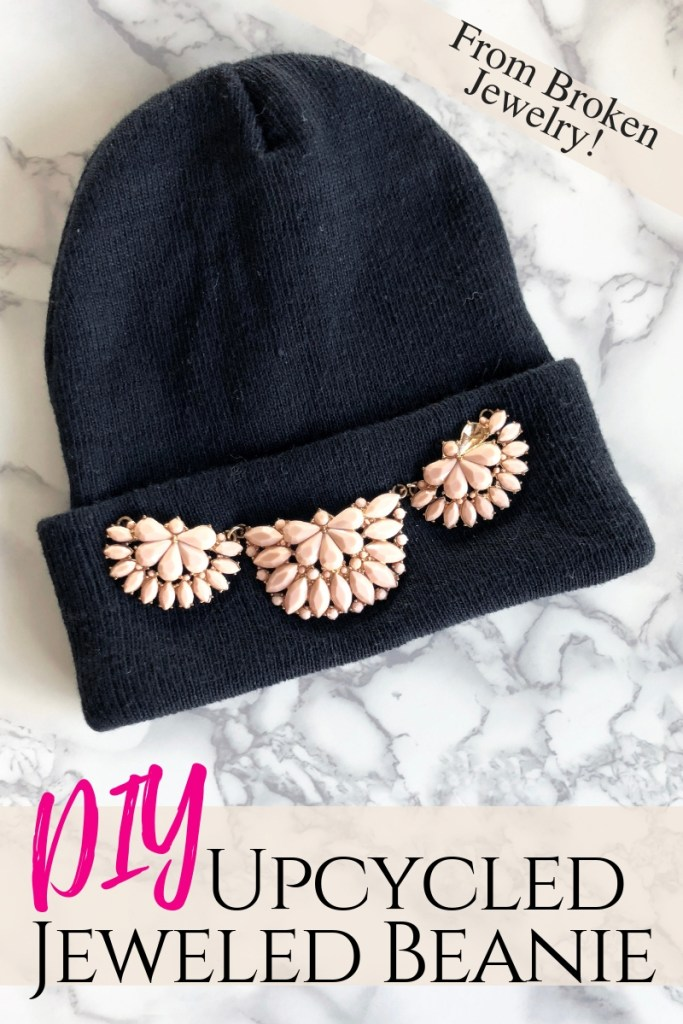 DIY a trendy embellished beanie from an upcycled broken recycled necklace