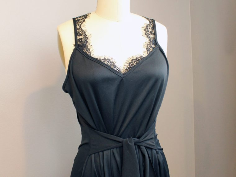 Refashion a black slip into a lace maxi dress with this clothing DIY tutorial