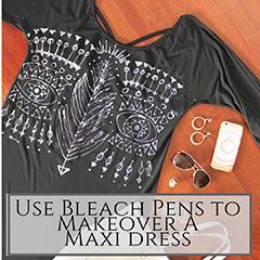 Bleach pen maxi dress small