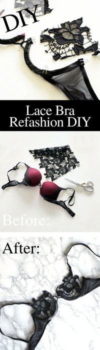 Bra making the easy way . Refashion your old bra into sexy DIY lace lingerie