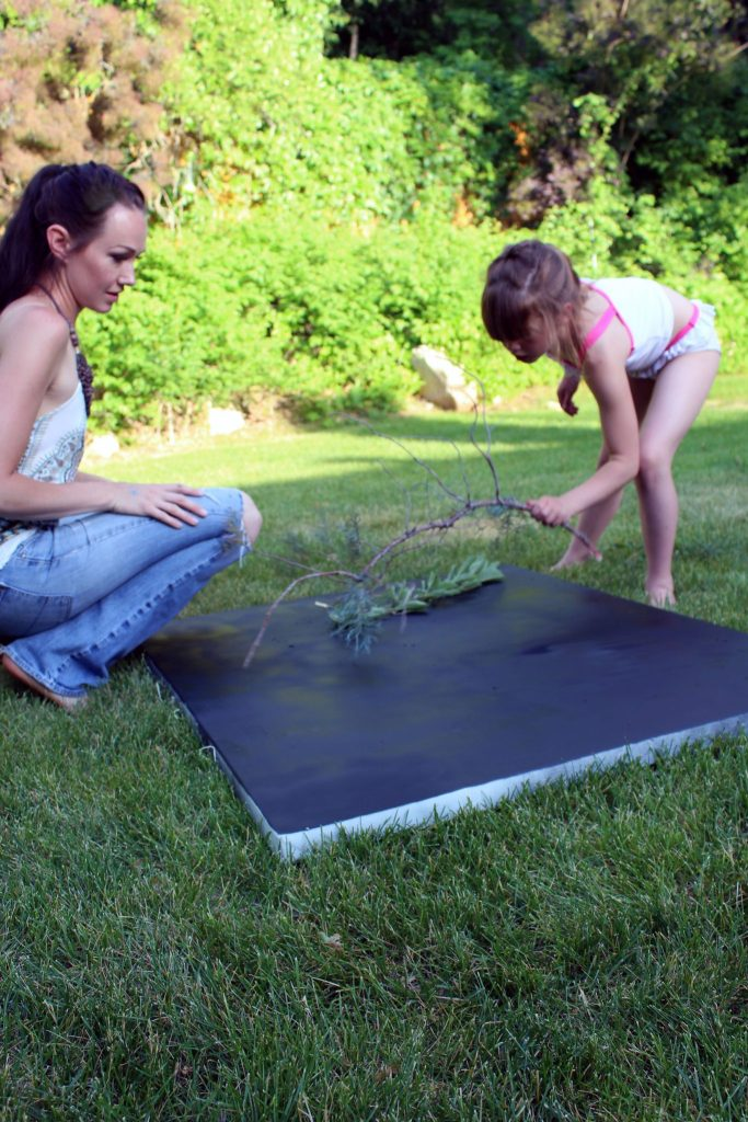 easy wall art with spray paint and botanical foilage