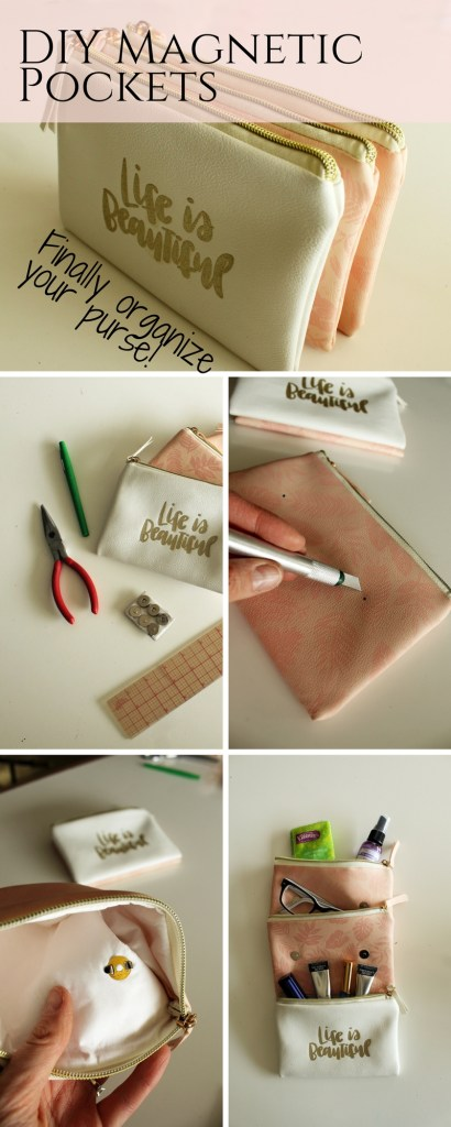 DIY Magnetic Pocket Purse Organizer Tutorial