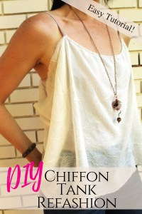 DIY this chiffon draped tank in less than 30 minutes .