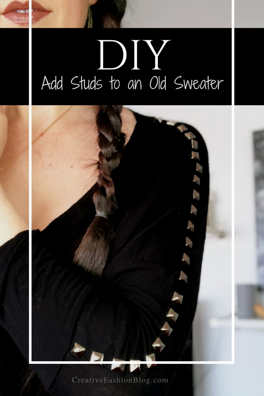 How To Add Studs To A Basic Shirt . A Clothing Refashion Idea .