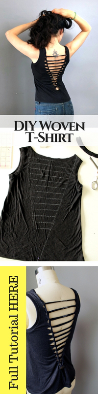 Refashion a basic t shirt with this easy weave DIY