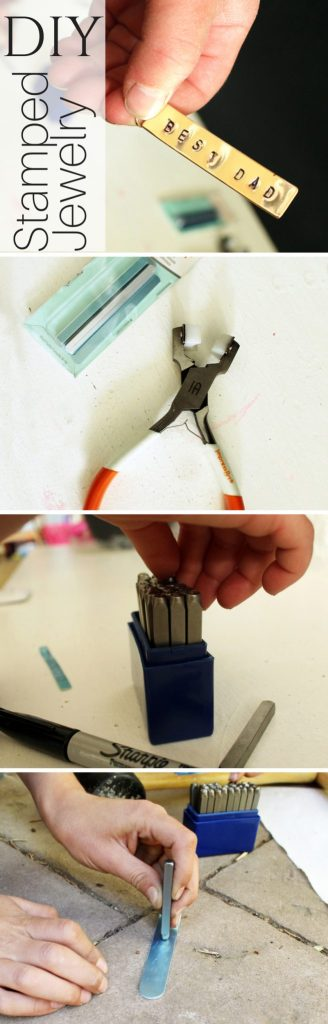 Easy DIY fathers day gifts from kids stamped metal ring craft