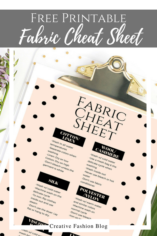 Fabric Cheat Sheet printable download. how to care for your laundry and washable fabrics