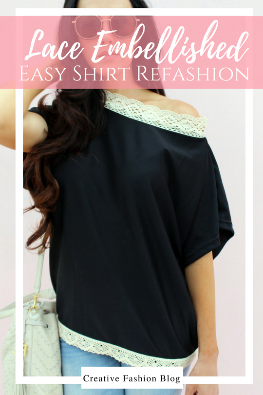diy refashion shirt tutorials . lace embellishments .