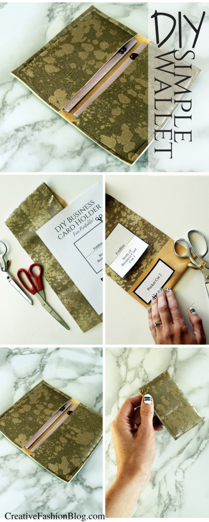 DIY faux leather Business Card Holder Simple Wallet tutorial with FREE printable pdf pattern..