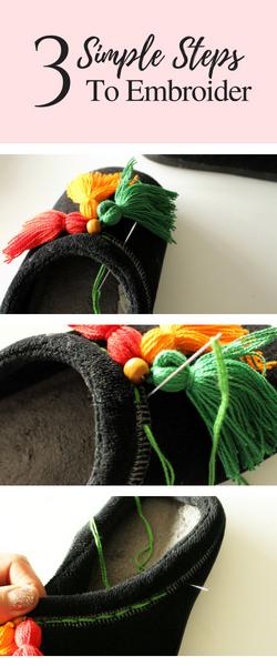Easy DIY Slippers Tutorial with DIY Boho Tassels embroidery tutorial