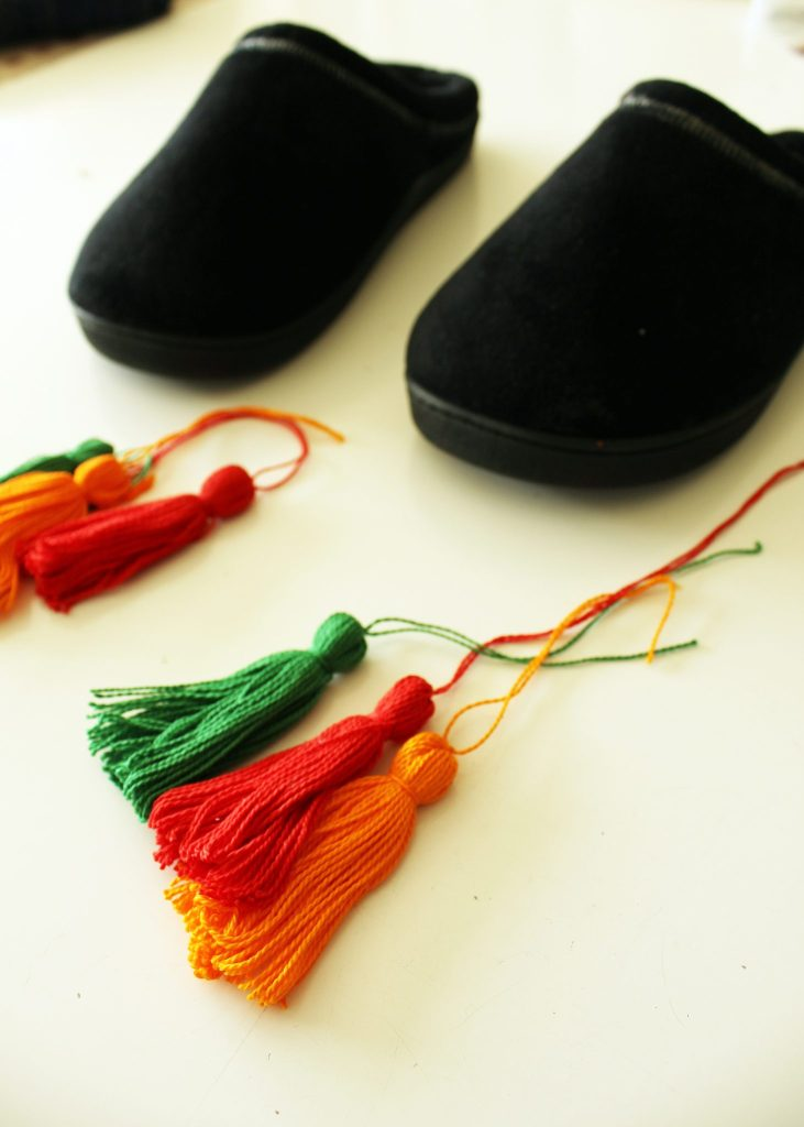 Refashion Easy DIY Slippers Tutorial with sew on embroidery floss Tassels..