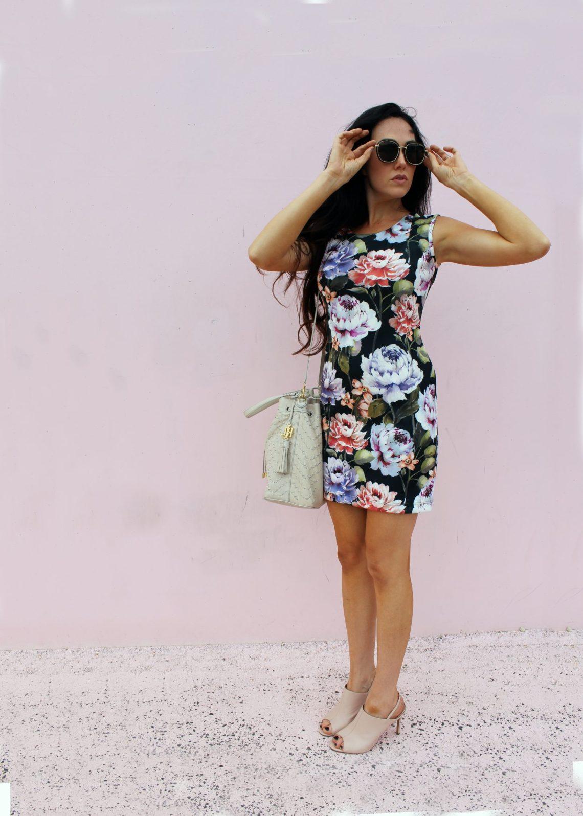 how to make a DIY Floral Scuba Dress