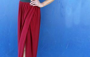 how to sew a diy floor length maxi skirt with slit..