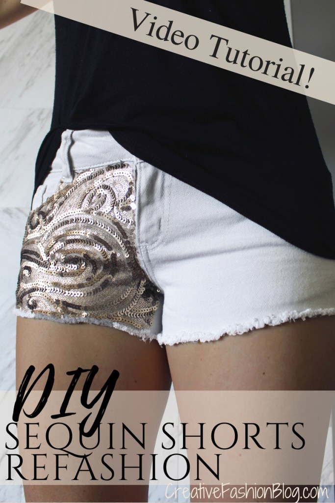Easy DIY sequin shorts tutorials for a fun sparkle summer outfit ..