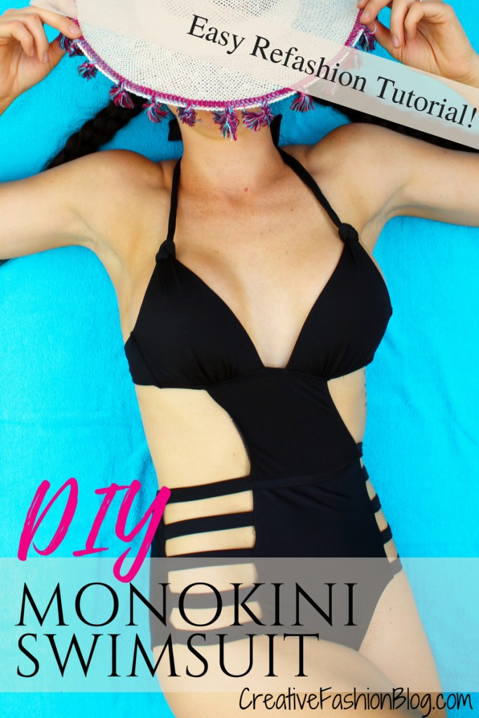 Full tutorial on how to make DIY monokini swimsuits! This simple black one piece is a refashion from an old bikini