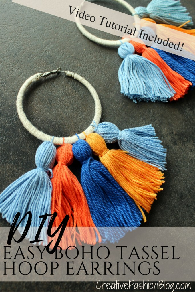How to make Easy DIY boho tassel earrings with hoops tutorial. video tutorial.