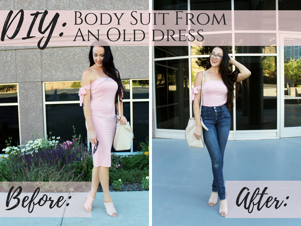 How to make a DIY bodysuit from an old dress or shirt . A quick and easy Refashion tutorial..