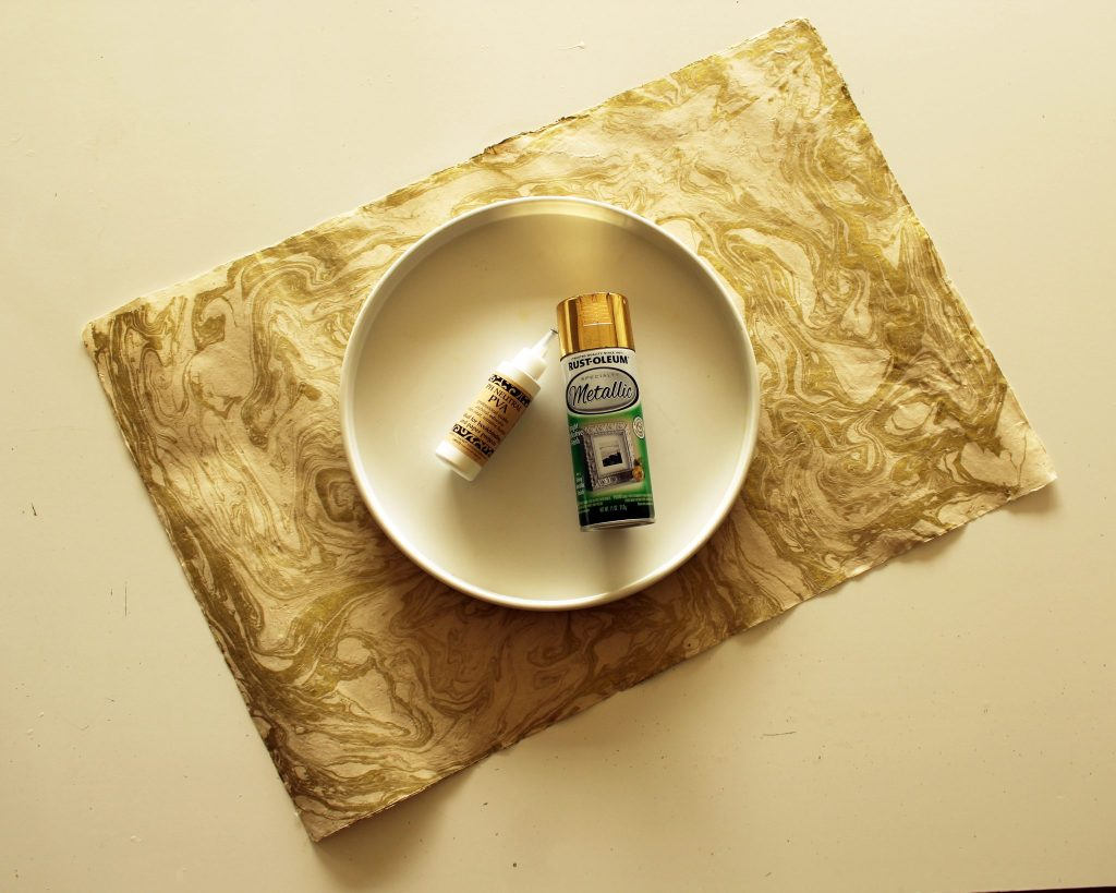 DIY Gold and Marble Tray With Paper Source Paper supplies