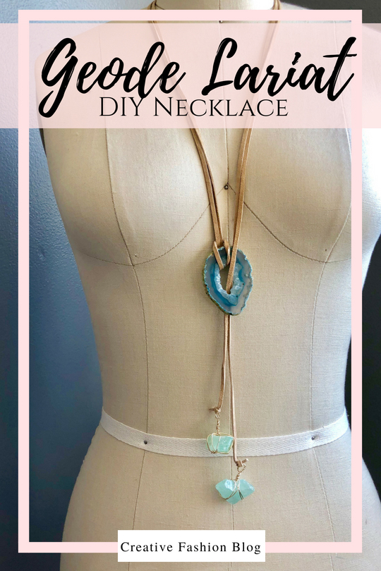DIY Lariat necklace from a geode and wire wrapped crystals This is such an easy jewelry making DIY tutorial