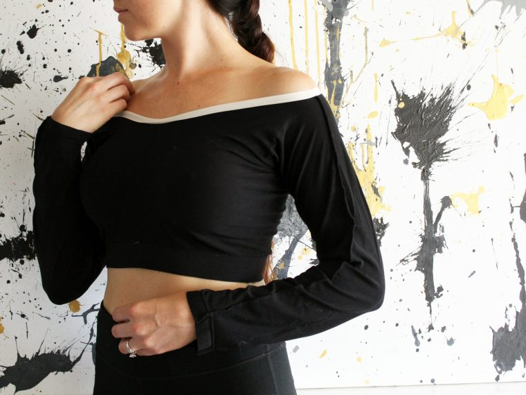How to make a long sleeve crop top from a pair of old leggings. An easy clothing refashion