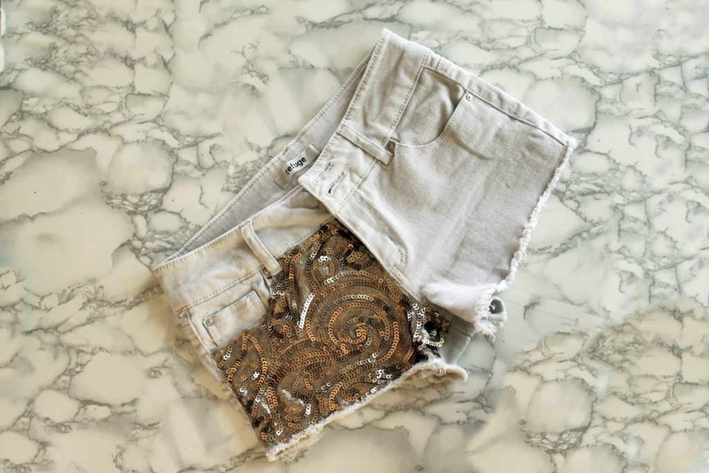 recycled clothing sequin shorts tutorial