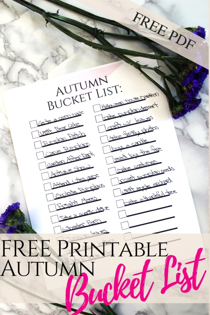 FREE Printable pdf Autumn Bucket List