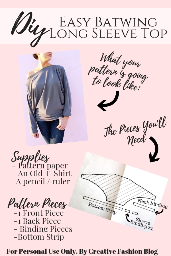 How to make a simple DIY batwing sleeve shirt illustration pg 1