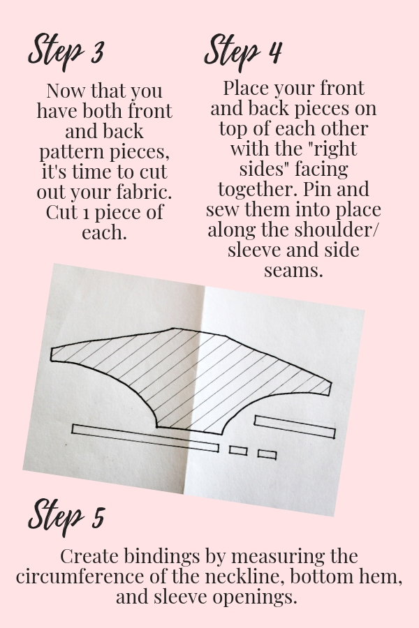 How to make a simple DIY batwing sleeve shirt illustration pg 3