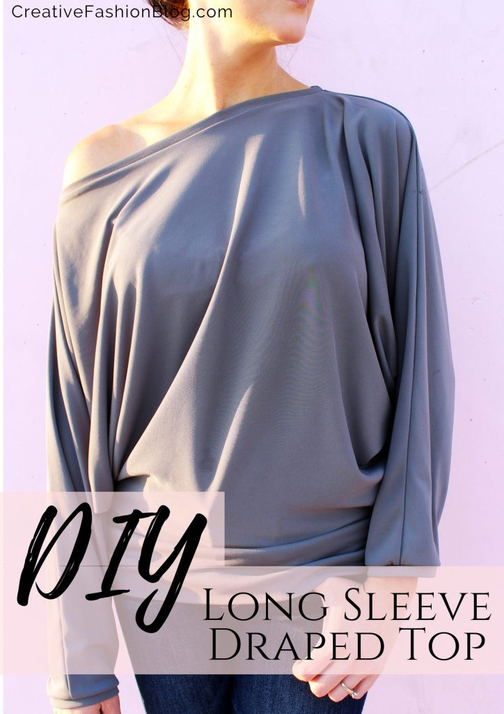 How to make a simple DIY long sleeve batwing draped shirt