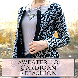 Sweater to cardigan refashion