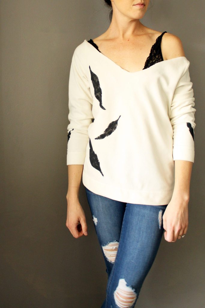 DIY This feather stenciled sweater refashion
