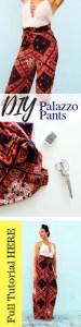 DIY drawstring printed palazzo pants beginner sewing tutorial..