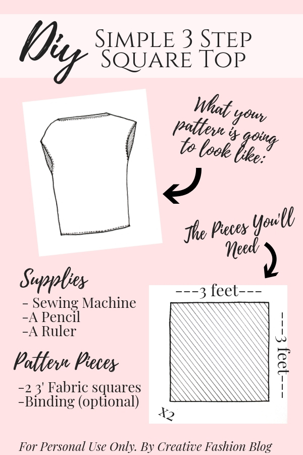 How to make a 3 step DIY draped square top printable pdf page 1. A great beginner sewing tutorial!