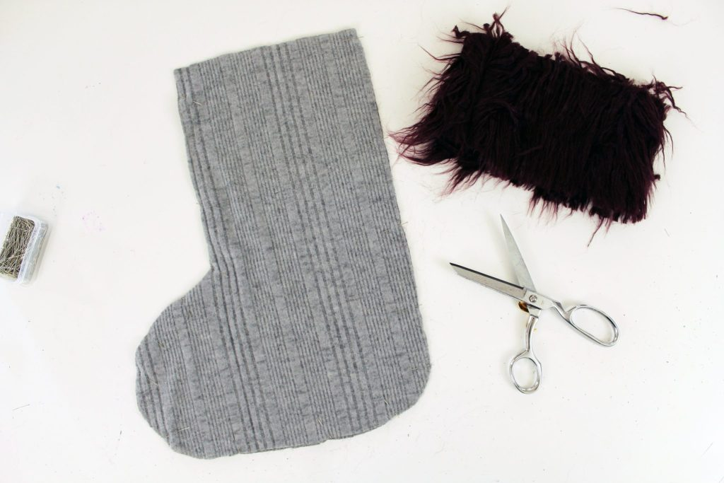 How to Make a simple faux fur DIY Christmas Stocking FREE printable pattern