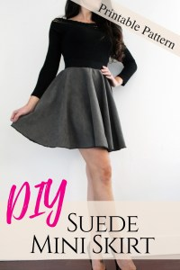 How to make a simple suede circle skirt . A FREE pattern printable tutorial