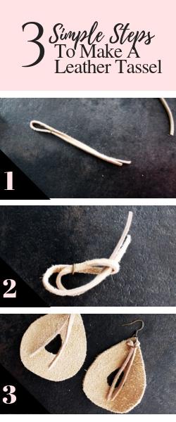 DIY leather teardrop earrings easy jewelry making tutorial from scratch